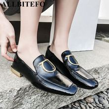 ALLBITEFO yeni marka moda hakiki deri kadın topuklu ayakkabı metal tasarım kare ayak düşük topuk ayakkabı kızlar bayanlar günlük ayakkabı