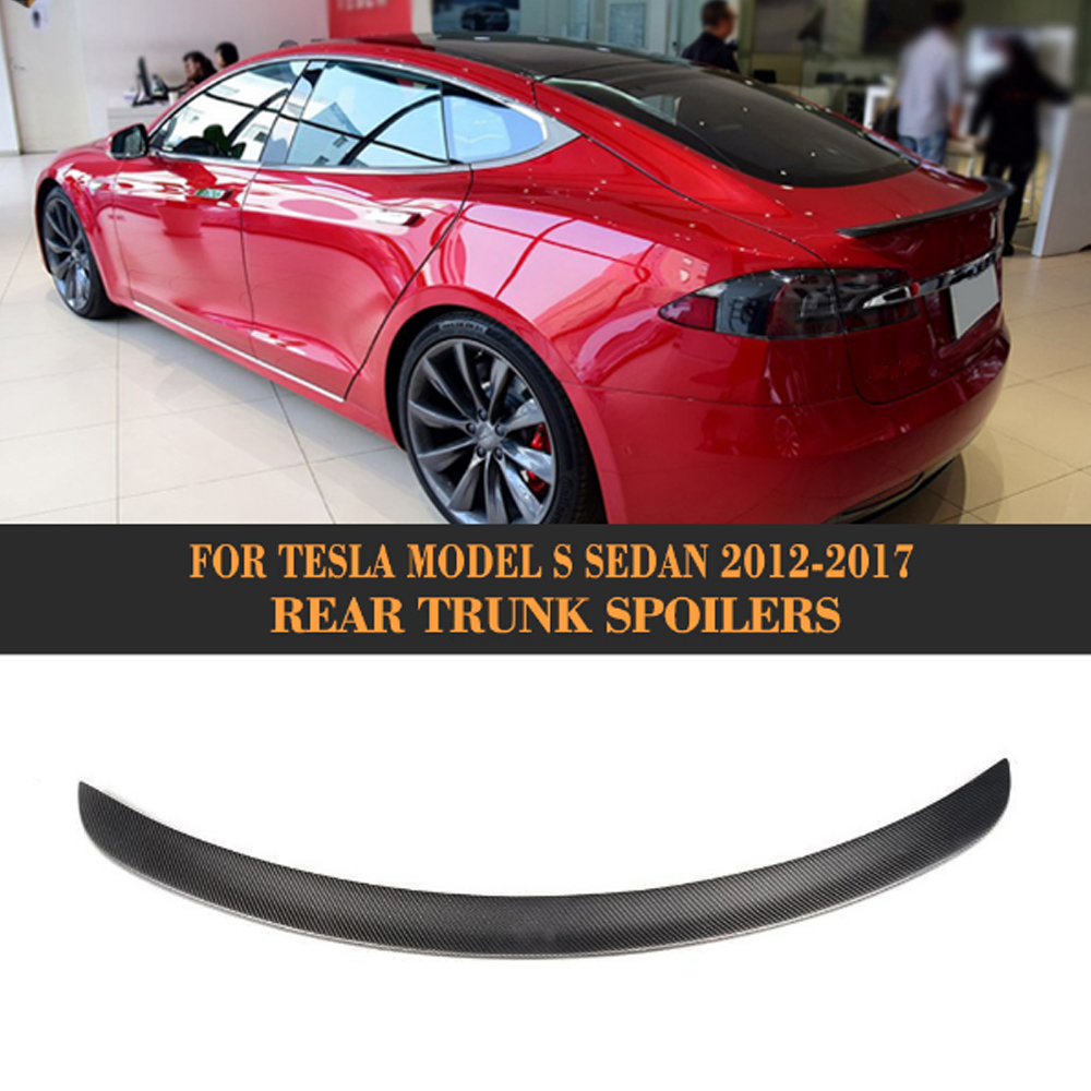 Matt Gloss Carbon Fiber Rear Trunk Wing Spoiler for Tesla Model S Sedan 60 70 75 85 90 D P85D P90D P100D 2012-2017 carbon fiber rear trunk boot spoiler wing trim sticker fit for tesla model s sedan 4 door 2012 2017 matt gloss car tuning parts