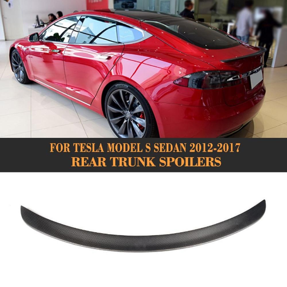 все цены на Rear Trunk Wing Spoiler for Tesla Model S Sedan 60 70 75 85 90 D P85D P90D P100D 2012-2017 Matt Gloss Carbon Fiber Boot Spoiler онлайн