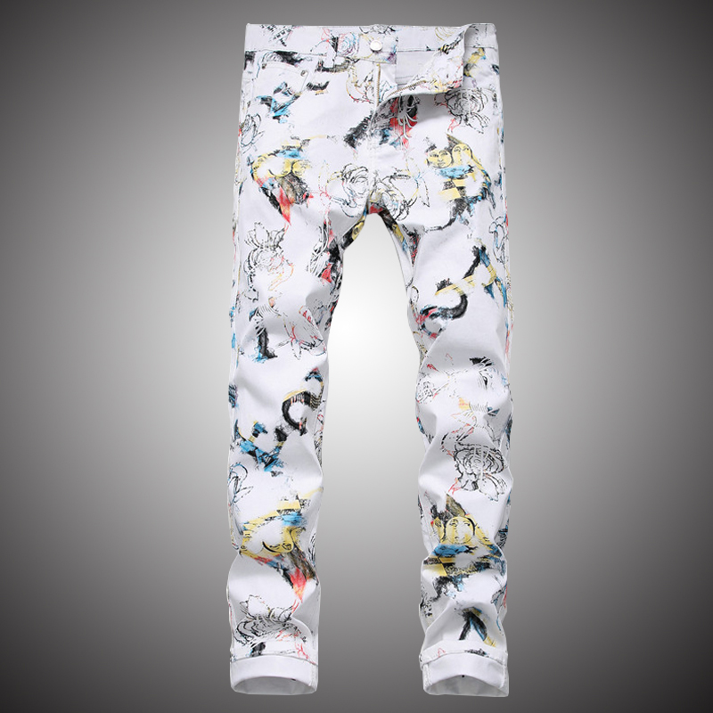 Mens White Jeans Pants 2019 Fashion Printed Denim Trousers Slim Hip Hop Streetwear Jeans Pencil Pant for Men WY294