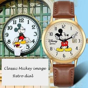 Image 2 - Disney Marke Mickey Maus Frauen Uhren Damen Männer leder Quarz Uhren Kinder Uhren für mädchen jungen Original Geschenk Box