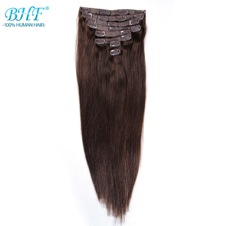 BHF Human-Hair-Extensions Clip-In 100%Natural-Hair Remy Straight 160g 8pieces/Set Full-Head