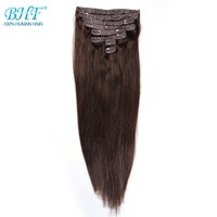 BHF Clip in Human Hair Extensions Remy Straight Full Head Clip In Extensions 8 pieces/set 120g Free shipping 100% Natural Hair