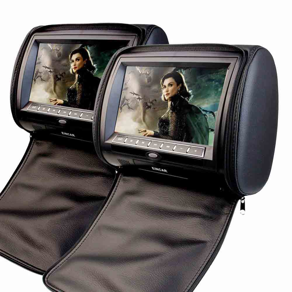 2X 7 HD Digital Car Headrest DVD Player with 32Bit Game+USB+SD+IR/FM transmitter Zipper Cover Black Beige Gray eincar car 9 inch car dvd pillow headrest two monitor lcd screen usb sd 32 bit game fm ir multimedia player free 2 ir headphones