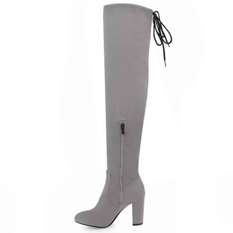 FITWEE Size 34-43 Vrouwen Dikke Hoge Hak Over de Knie Elastische Laarzen Vrouwen Zip Back Strap Puntschoen Warm bont Binnenkant Lange Botas