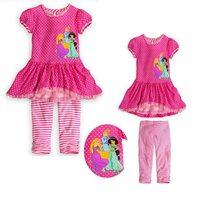 Rosa Prinzessin Kurzarm Mädchen Kleidung Sets Tupfen Kleid + streifen Hosen Sommer Baby Mädchen 2 Stück Set Kinder kleidung