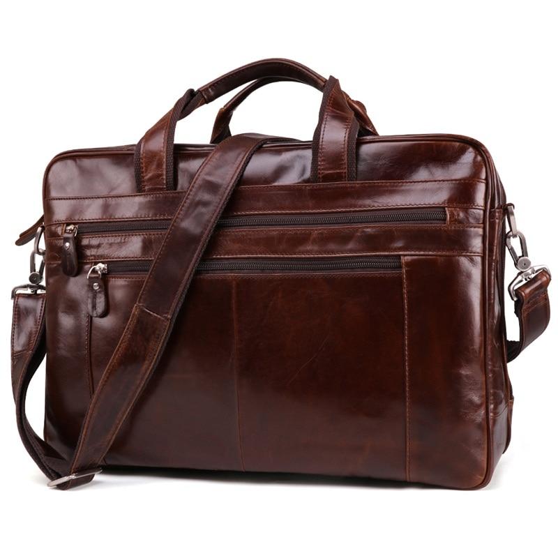 Vintage Genuine Leather Men Briefcases 15.6