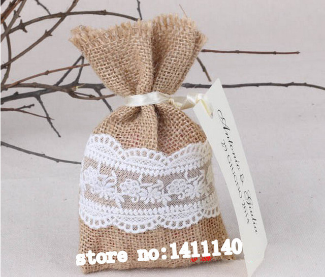 Free Shipping Vintage Burlap And Lace Favour Candy Bag Wedding Hessian Jute Gift Pouches50pcs