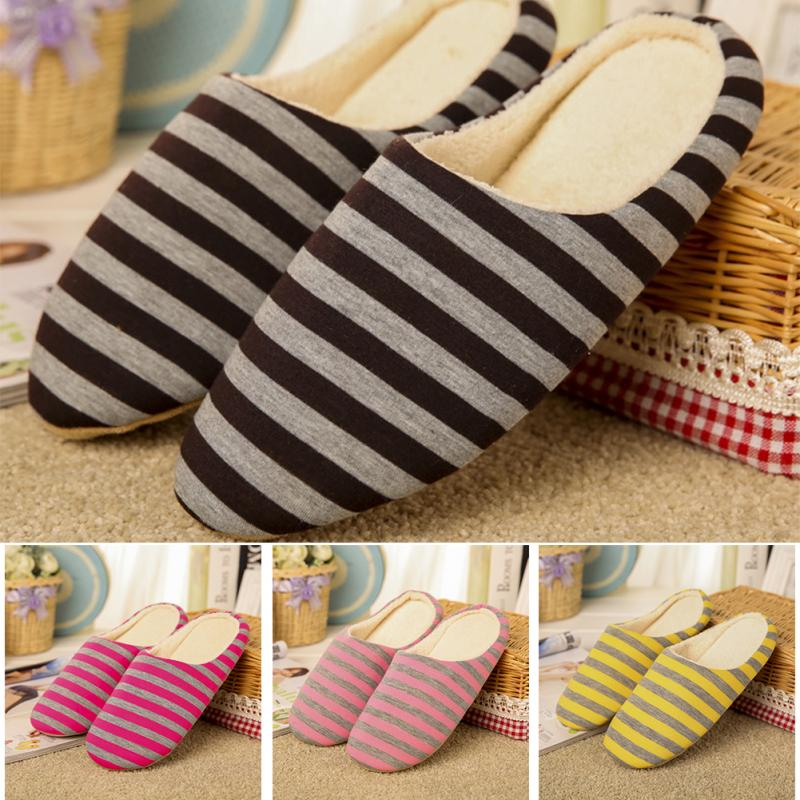 Autumn Winter Coral Velvet Slipper Housewarming Soft Slippers Home Indoor Cotton Striped Floor Plush Shoes For Men Unisex