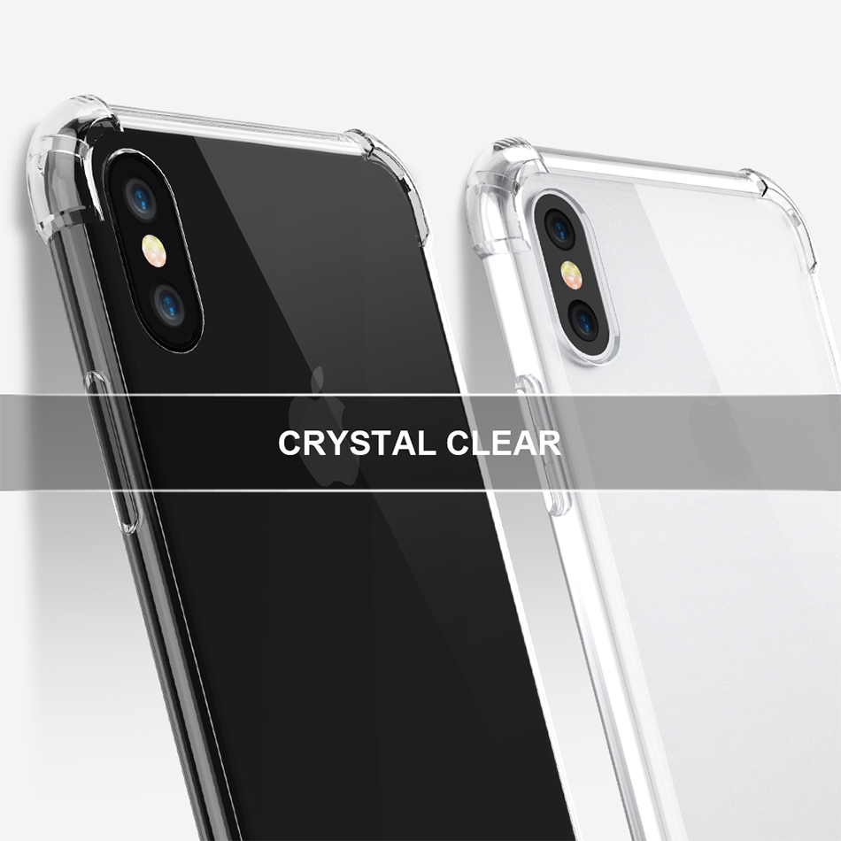 Anti-knock Clear Silicon Shockproof Cover with TPU iPhone Case 8