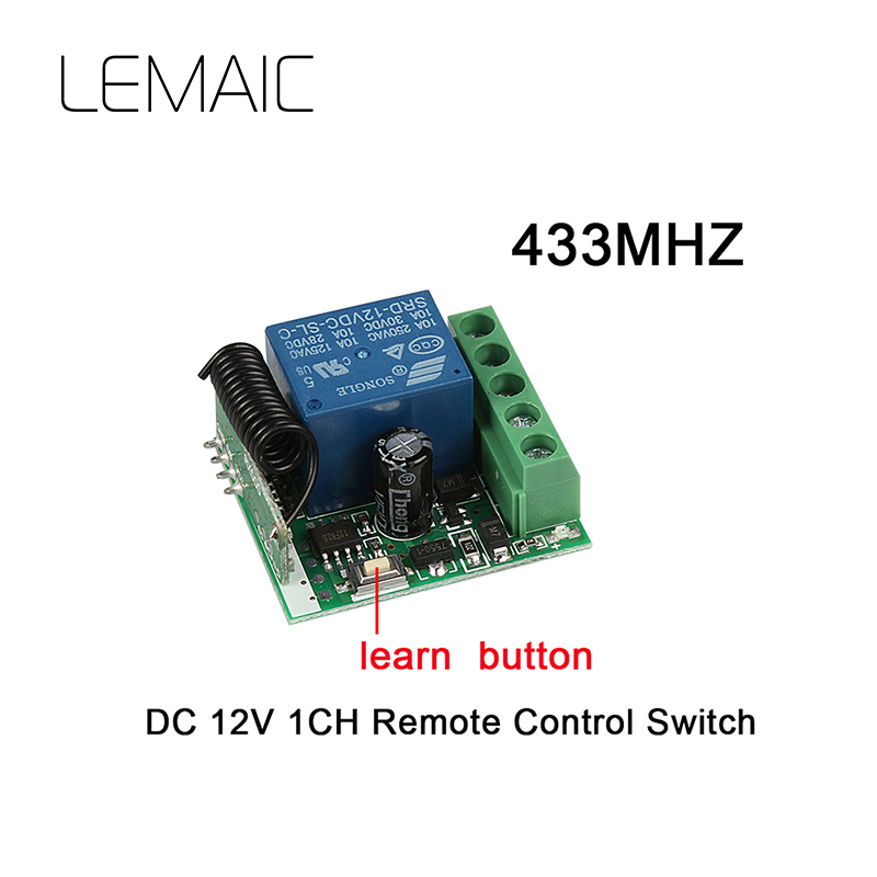 LEMAIC 433 Mhz DC12V 10A 1CH Relay Receiver RF Wireless Remote Control Switch Module For Remote Transmitter Diy Electronic Lock 433mhz wireless remote control switch dc12v 1ch superheterodyne relay receiver module with rf transmitter 433 mhz remote control