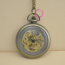 new fashion good quality vintage retro antique bronze men women unisex gift steampunk mechanical pocket watch hour long chain