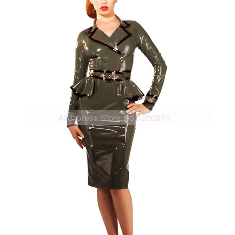 Sexy Army Green Female Rubber Latex Chic Uniform Dress Latex Wear Dresses with Belt S LD153