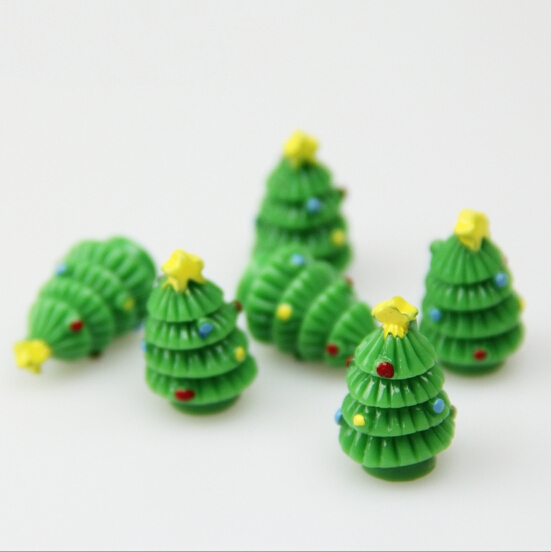 2.2cm Resin Xmas Tree Figurine Craft Garden Decor Ornament Miniature Plant  Pot Micro Landscape Bonsai DIY Christmas Gift