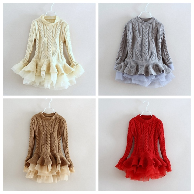 fc04e36b7 Kids Girls Knitted Organza Tulle Princess Party Dress Crochet Sweater Dress  Candy Beige Brown Gray Red Color Christmas Dresses