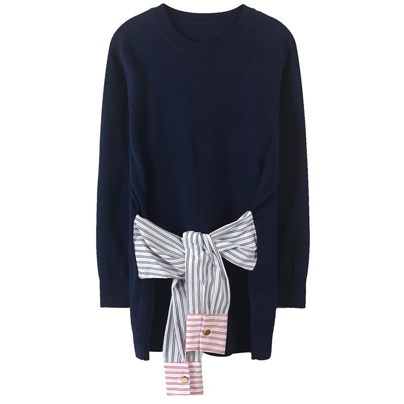 Women Sweater Elegant Sashes Jumper Plus Size Striped Sweater Belt Jersey Runway Loose Long Sleeve Pullovers