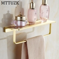 MTTUZK Nordic Simplicity Wall mounted Shelf Rack With Towel Hanging Brushed Gold Shelves Dressing table Bathroom Accessories