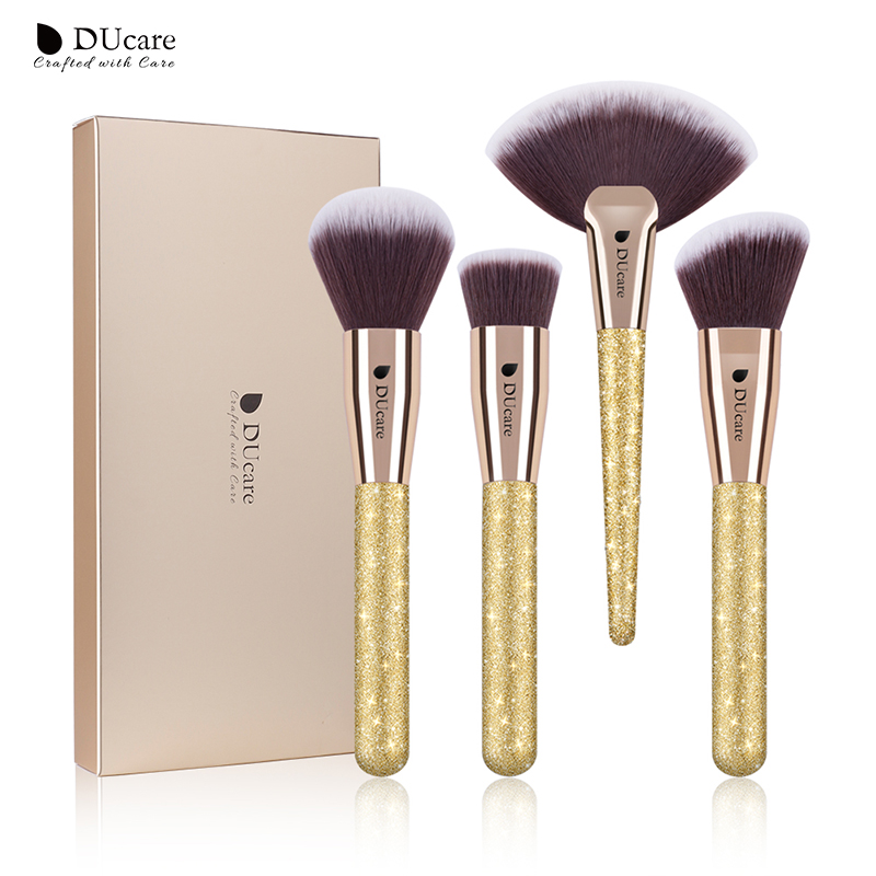 DUcare 4 PCS Makeup Brushes Set Foundation Powder Contour Highlighter Brush Make Up Tools Kit