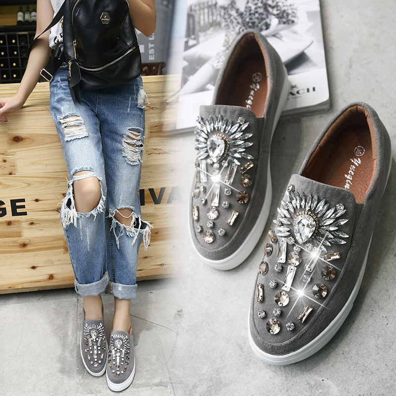 women shoes Loafer Espadrilles Flats 2017 Spring Autumn Deep Mouth Round toe Crystsal Shoes Woman Slip on Flat tenis Black /Grey
