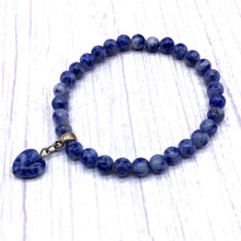 Heart Charm Bracelet 6 mm Nature Sodalite Beads Women 18.5 cm For Girls Gift Blue Color Jewelry