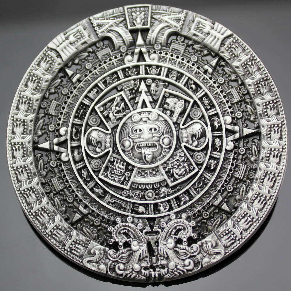 Apparel Accessories Professional Sale New 2017 Fashion Men Antique Gold Silver Aztec Mayan Indian Detailed Calendar Mask Western Belt Buckle Cosplay Jewelry Cheap Sales