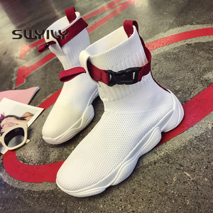 Image 1 - Swyivy 2019 ホット秋の女性のプラットフォームスニーカー靴下靴の白人女性新ヒップホップ黒のトップスニーカーオル