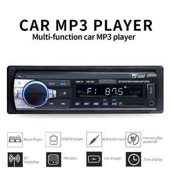JSD520 Car Radio Stereo Player Digital Bluetooth MP3 60Wx4 FM Audio with In Dash AUX Input iso image