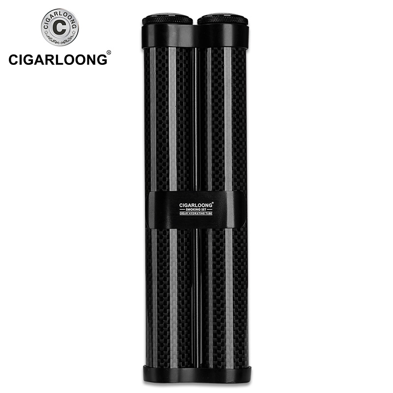 Купить с кэшбэком carbon fiber cigar cutter Cigarette Windproof Lighter Torch Jet butane gas Cigar Lighters tube case Gift Set CQ-B1001
