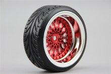 Pneu disco rígido rc 4 unidades, pneu roda jante y12cr 3/6/9mm offset (cromado + pintura vermelha) ajuste para 1:10 carro driftrim emblemsrims tubelesstire toyo