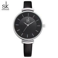 Shengke Women Watches Black Leather Watch Women Quartz Watch Thin Strap Watch Ladies Wristwatch Relogio Feminino