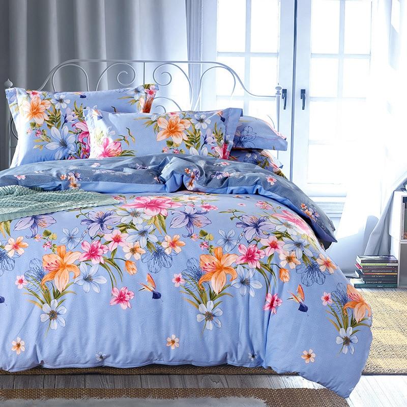 ღ ღCountry Style Floral Print Bedding Set Queen King Size Bed - Orange print sheets