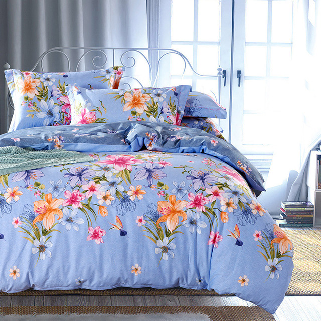 Country Style Floral Print Bedding Set Queen U0026 King Size Bed Sheets Duvet  Cover Pure Cotton