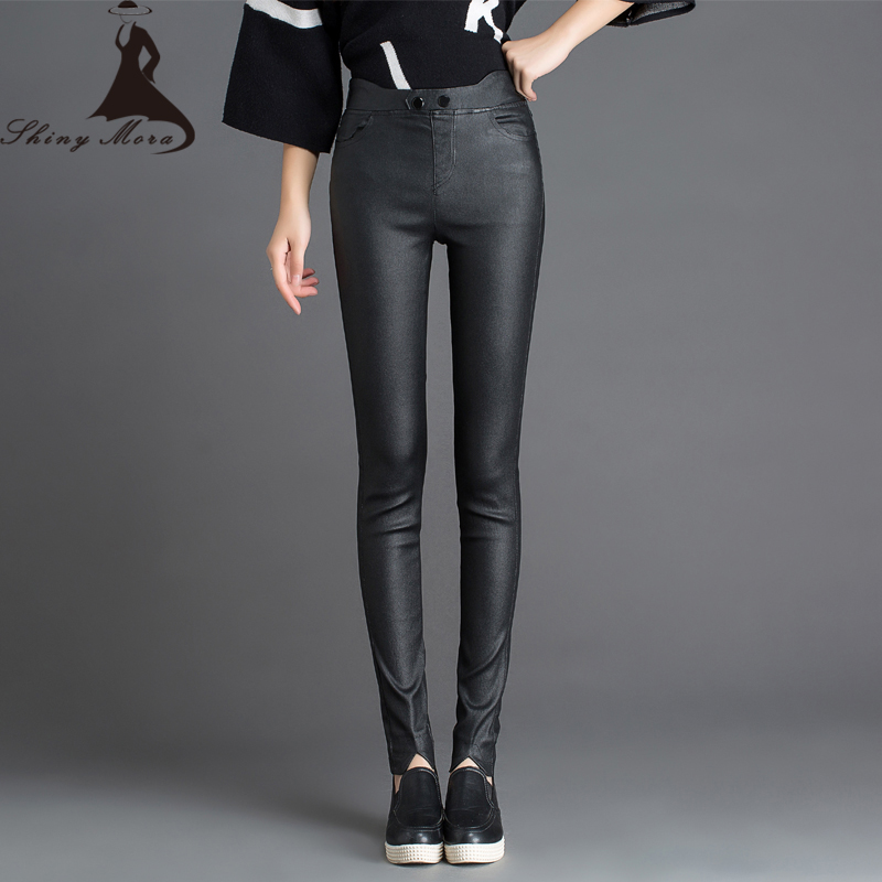 2016 New Spring Winter Women's Tight PU Leather pants ...
