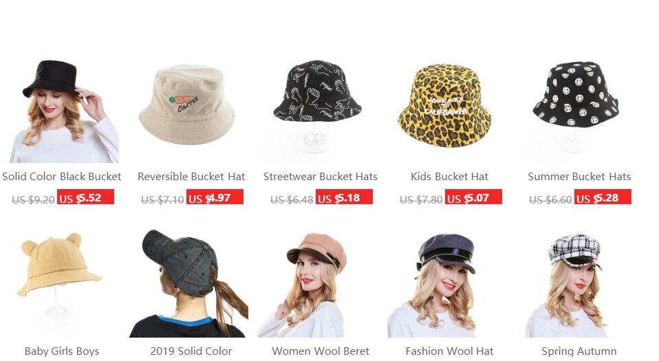 ea91d19c2a105 Sombrero de cubo Unisex de moda de verano 2019 para hombres y mujeres Hip  Hop gorras sombrero de pesca bob chapeau