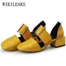 italian Square heel footwear lady designer sapato feminino sapatos mulher black purple yellow mary jane footwear leather-based girls's footwear