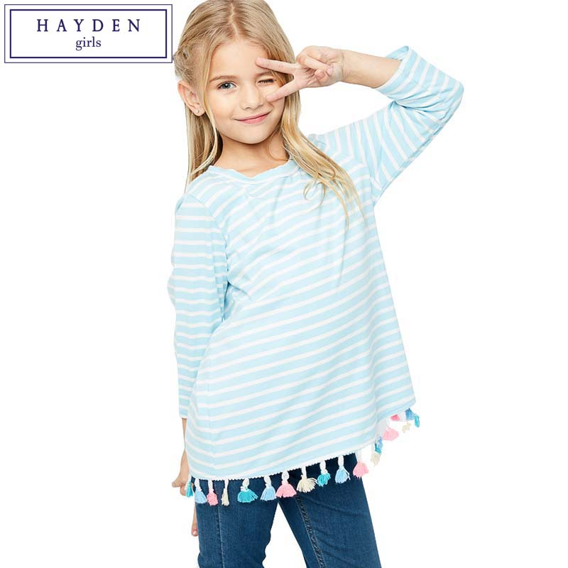 ФОТО HAYDEN Big Girls Long Sleeve Tops Kids Cotton Stripe Tees for Girls T-shirt Size 7 to 14 Years 2017 Spring Children Clothing