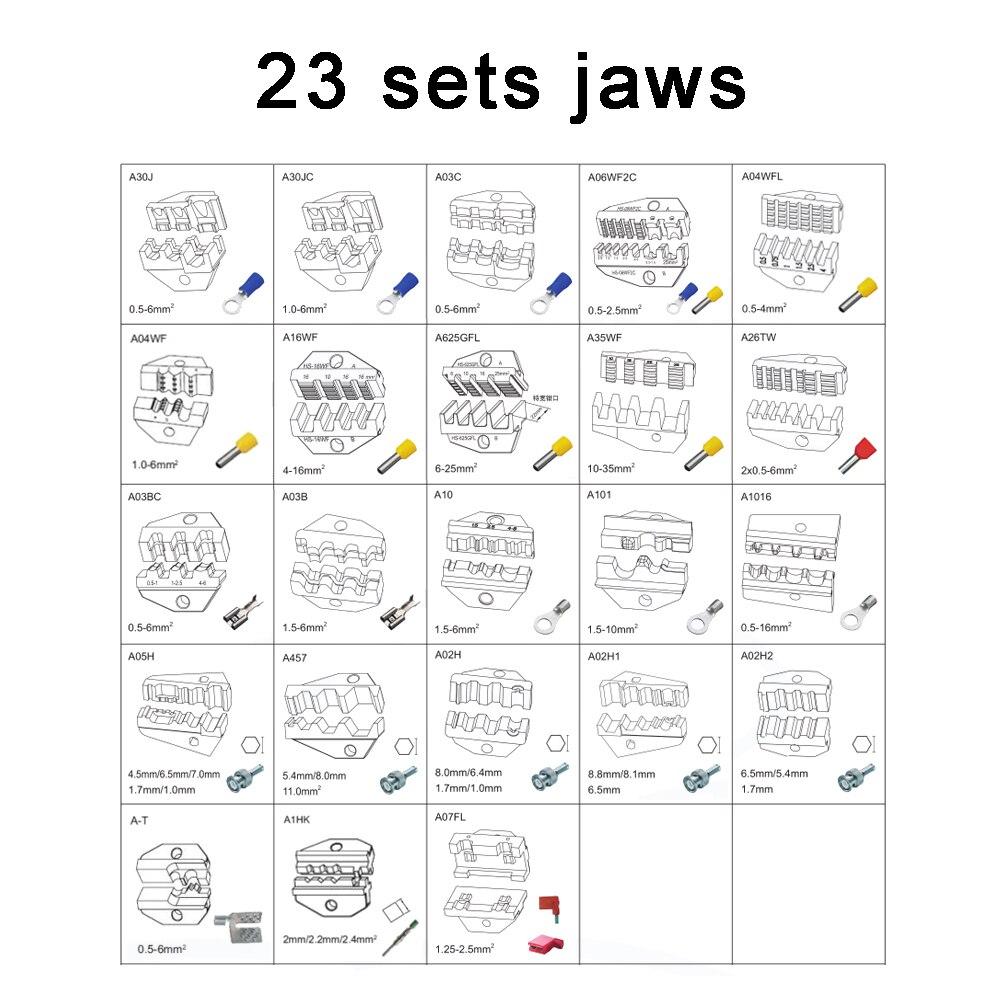 LUBAN Jeux De Matrices pour HS AM-10 EM-6B1 EM-6B2 PNEUMATIQUE OUTILS DE SERTISSAGE SERTISSAGE PILER Sertissage machine accessoires 23 ensembles mâchoires