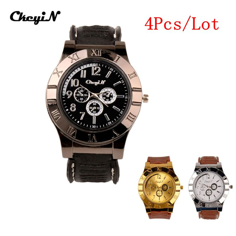 4Pcs/Lot New Design Quartz Watch with USB Electronic Rechargeable Windproof Flameless Cigarette Lighter Relogio Masculino 3233 dfl 3x6 inch flameless real wax pillar electronic led candle with timer with embossed gold pearl