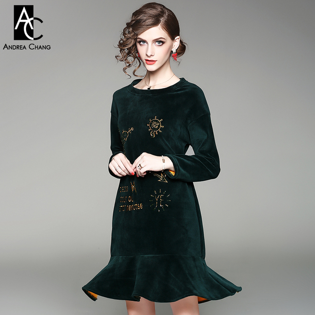 ff0ac9665969 autumn spring woman dress beading cartoon pattern embroidery green brown  velvet dress ruffled bottom loose plus size cute dress