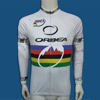 フルジッパー長袖サイクリングジャージーツールドフランス道路自転車レースサイクリング服トップスマイヨciclismo白# CX-003