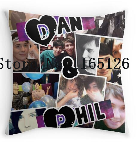 two sides printing dan and phil collage pillow cases for 12 14