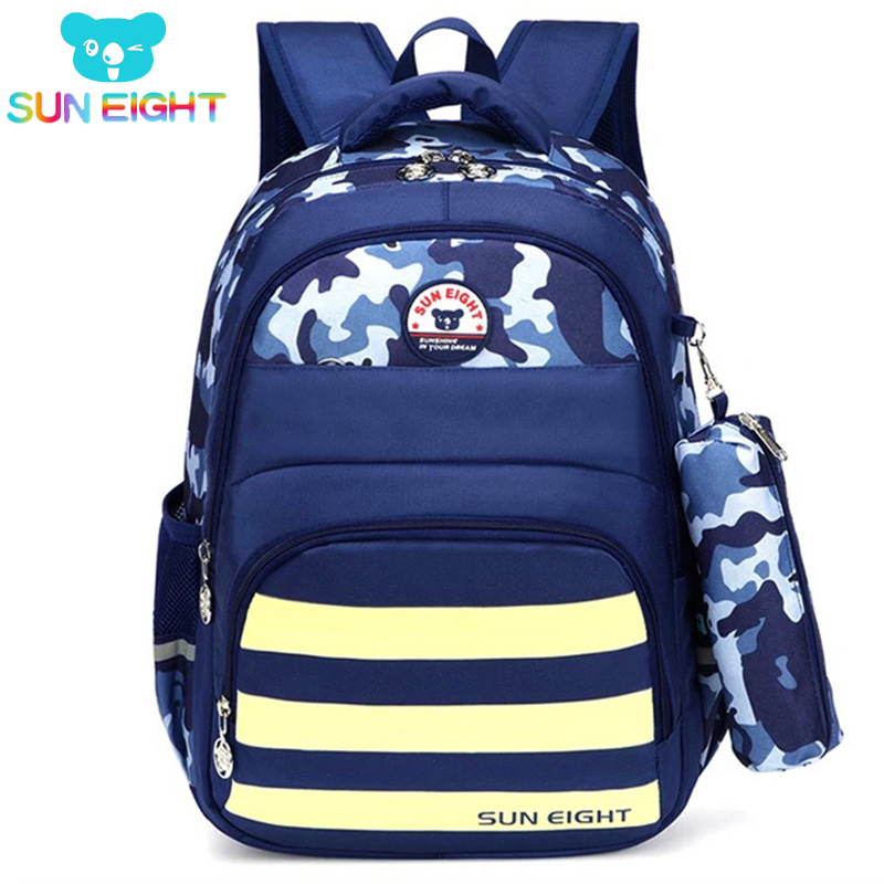 SUN EIGHT Cushion Cool Boy School Backpack For Kid Camouflage Printing School Bags For Boys Nylon Bag Pack Rucksuck New semester