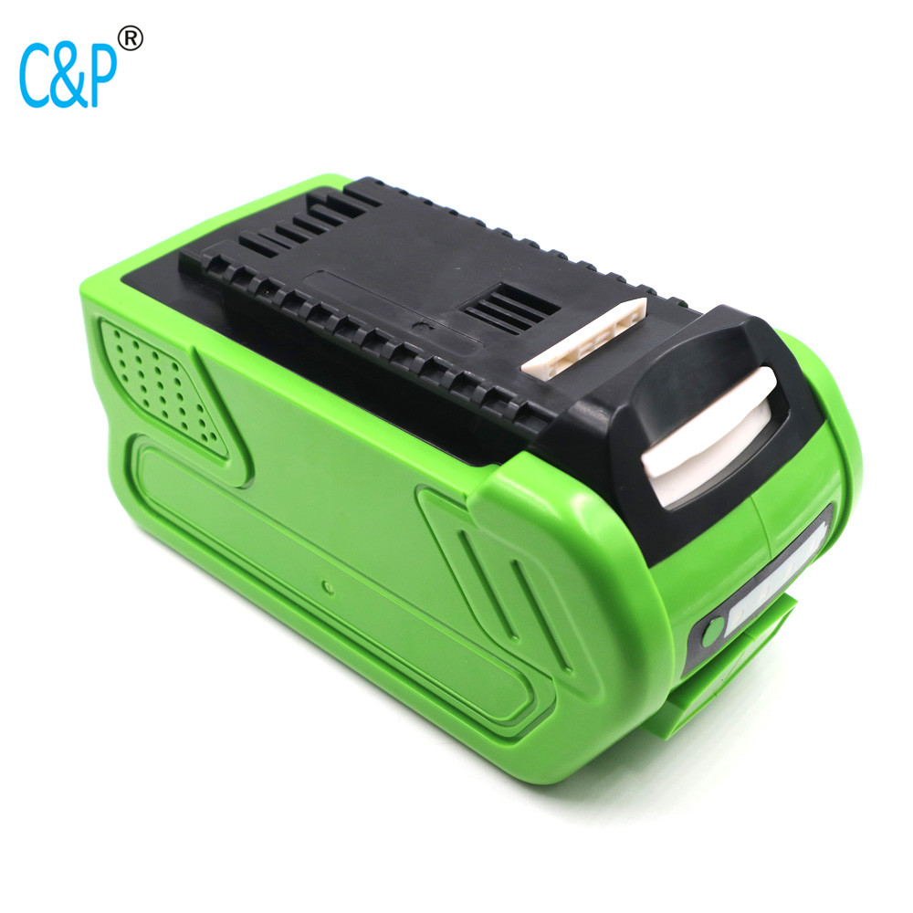 US $85 17 13% OFF|C&P replacement for Greenworks 40V Li ion 3 0Ah 6 0Ah G  MAX 24252 2601102 G40LM45 G40LT G40AB G40AC tool battery Lawn mower-in