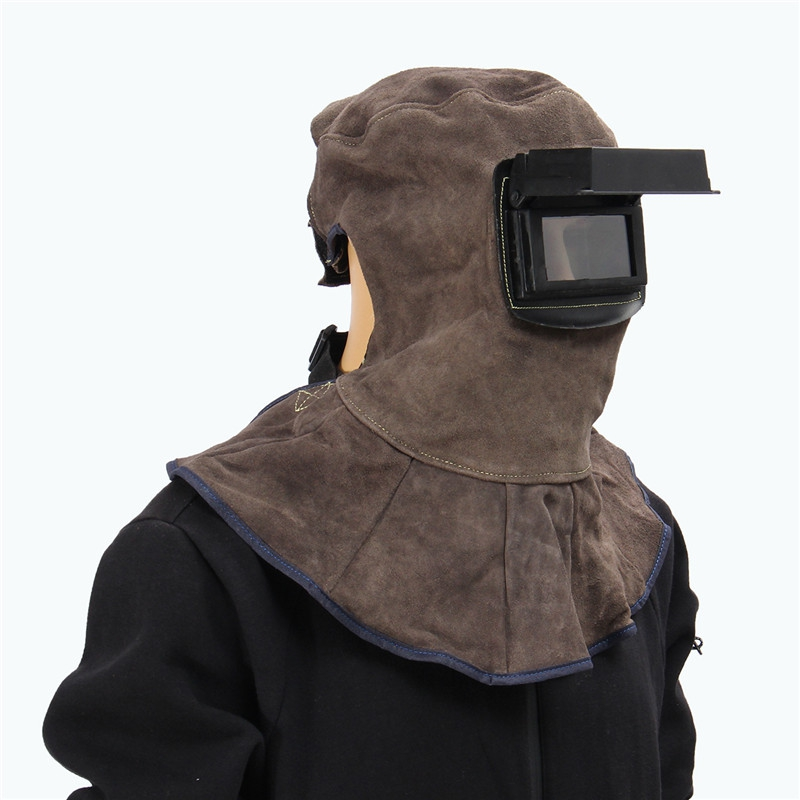 Leather Face Neck Protected Welding Hood Helmet With Auto Dark Filter Weld Lens Safety Face Shield Overhead Welding Mask leather welding hood helmet auto darking filter lens