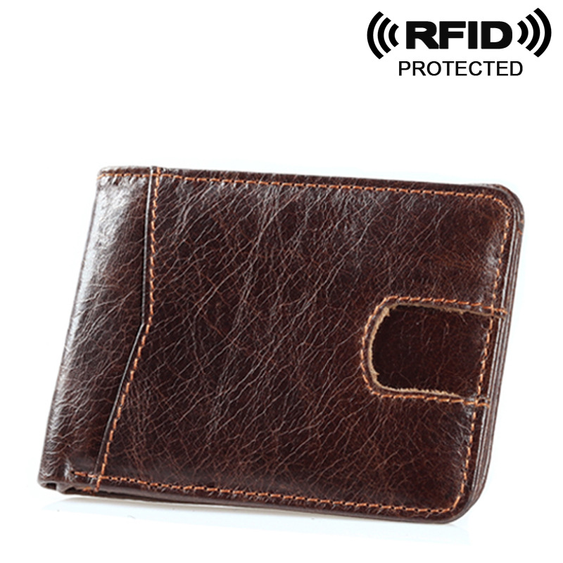 New Oil Wax Leather Wallet RFID shielded leather card package Anti theft wool short card holder retro small card bag