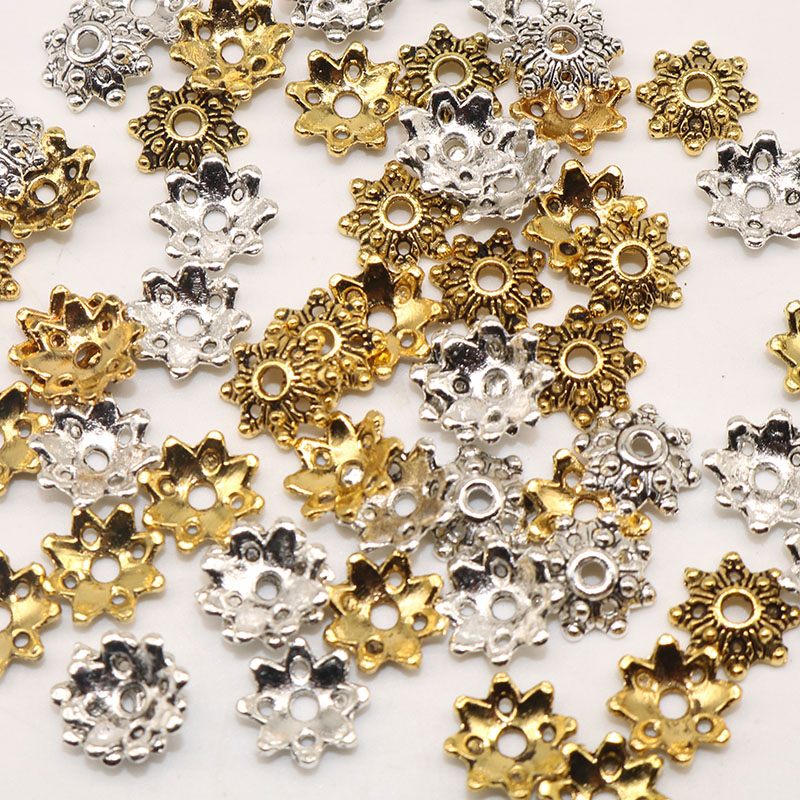 200pcs/lot End Beads Caps Metal Bead Caps Tibetan Silver Plated Flower Beads Charms For Jewelry Making(yiwu) 8mm