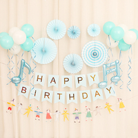 Banner birthday party fan flower baby year old layout background wall decoration package Party Backdrops Birthday Balloons