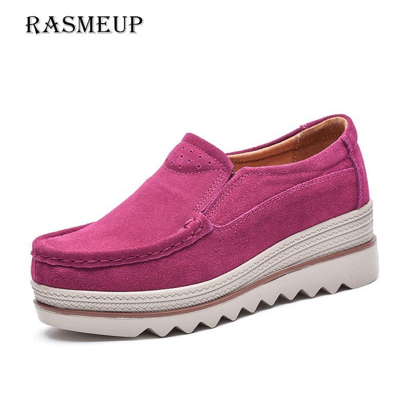 RASMEUP   Leather     Suede   Women Platform Sneakers 2018 Autumn Women Slip On Heels Flats Woman Casual Shoes Ladies Creepers Moccasins