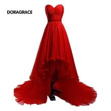 DORAGRACE New Fashion Sweetheart Hi-Lo Pleat Chiffon Floor-Length Red Prom Gowns Evening Dresses DGE085