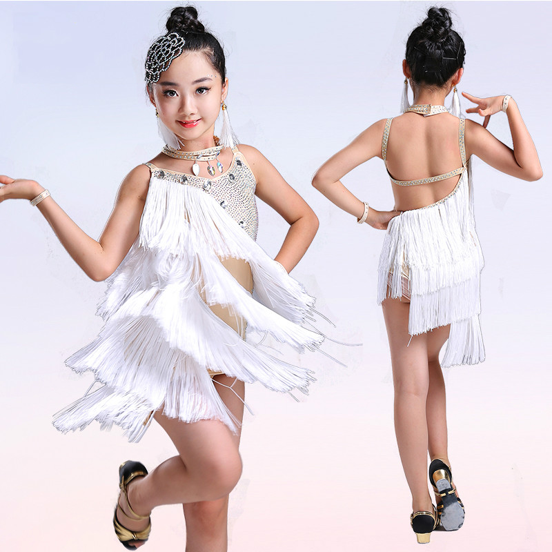 Bright Diamonds Tassel Professional Latin Dance Dress For Girls Flamengo Children Competition Ballroom Dancing Dresses For Kids|Latin| |  - title=
